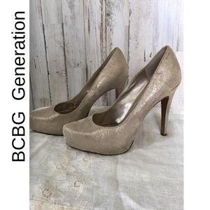 BCBG Generation Distressed Gold Heels Shoes